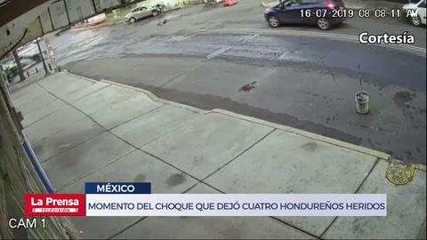 Momento del choque que dejó cuatro hondureños heridos en México