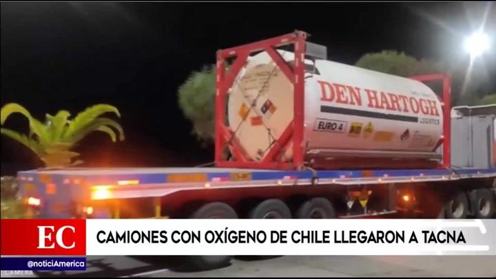 42 toneladas de oxígeno medicinal enviadas por Chile llegaron al Perú | VIDEO