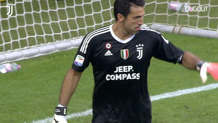 Buffon saves penalty in 3-0 win over Cagliari