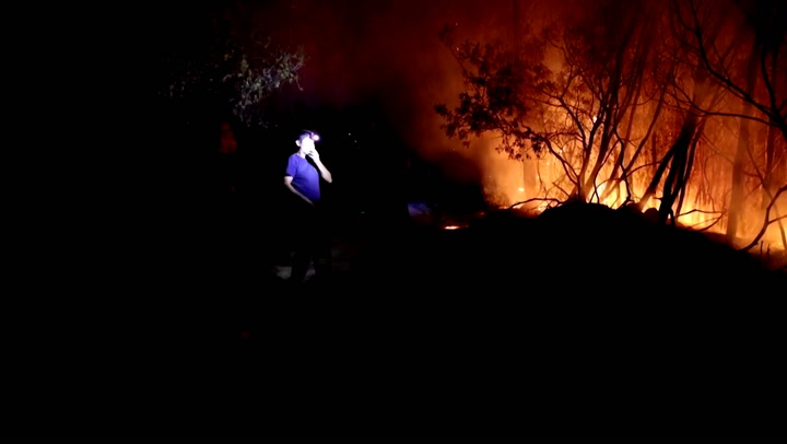 Firefighters battle Western Greece wildfire burning through the night