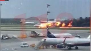 Her lander det brennende flyet