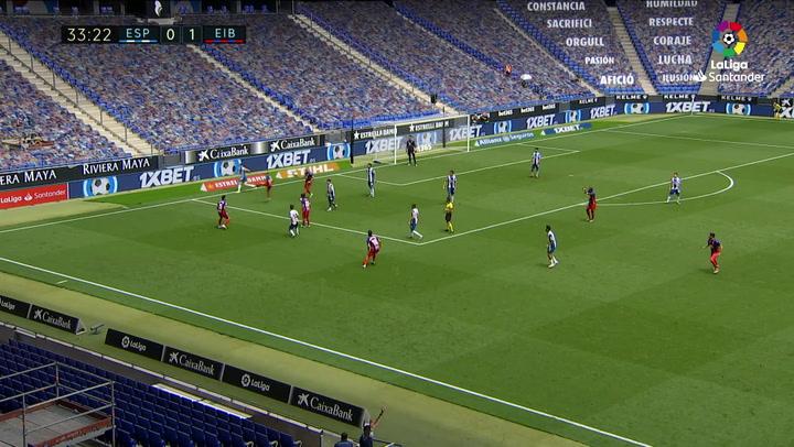 Gol de Edu Expósito (0-2) en el Espanyol 0-2 Eibar