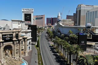 An empty Las Vegas Strip from the air – Drone Video
