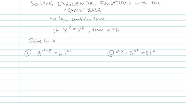 Solving Exponential Equations with the 'Same' Base - Problem 6