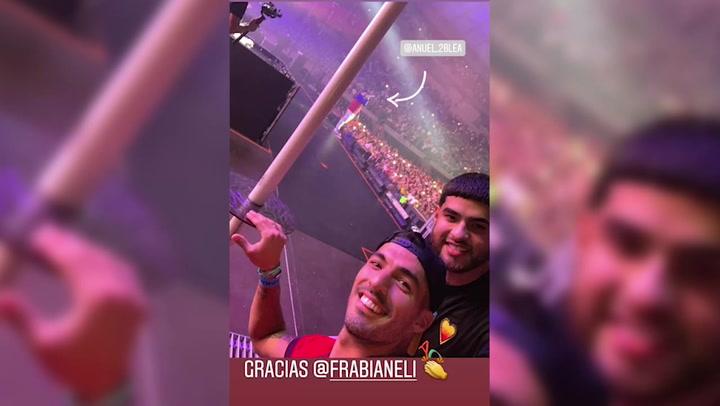 Luis Suárez y Sofía Balbi no se perdieron el concierto de Anuel en Barcelona