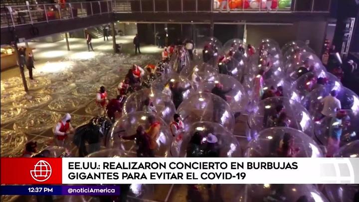 Estados Unidos: realizan concierto en burbujas gigantes para evitar contagios por covid-19