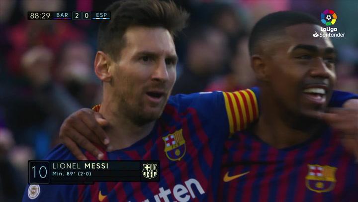 LaLiga: Barça - Espanyol. Gol de Lionel Messi en el minuto 89 (2-0)