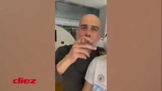 La locura de Guardiola: fumándose un puro y cantando a todo pulmón tras conseguir el título de la Premier