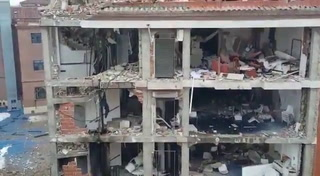Así quedó la fachada principal del edificio de la calle Toledo tras explosión