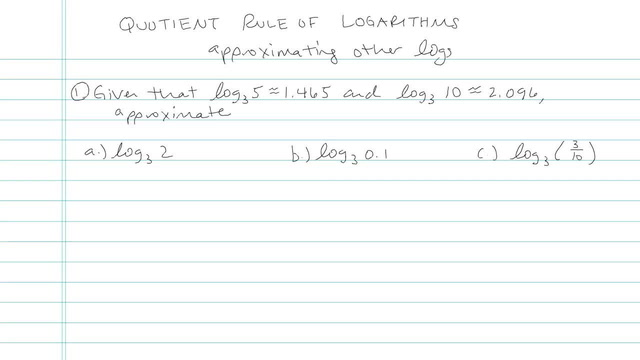 Evaluating a Logarithmic Expression in terms of Known Quantities - Problem 5