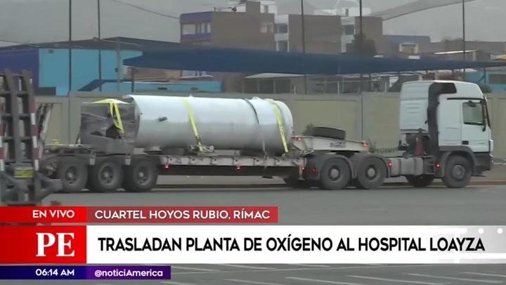 Planta de oxígeno donada por la minera Buenaventura fue trasladada al hospital Loayza