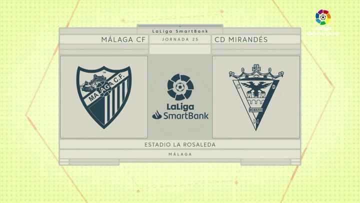 LaLiga Smartbank (J25): Resumen y goles del Málaga 2-2 Mirandés