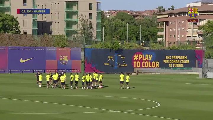 El Barça en el último entrenamiento previo al partido contra el Mallorca