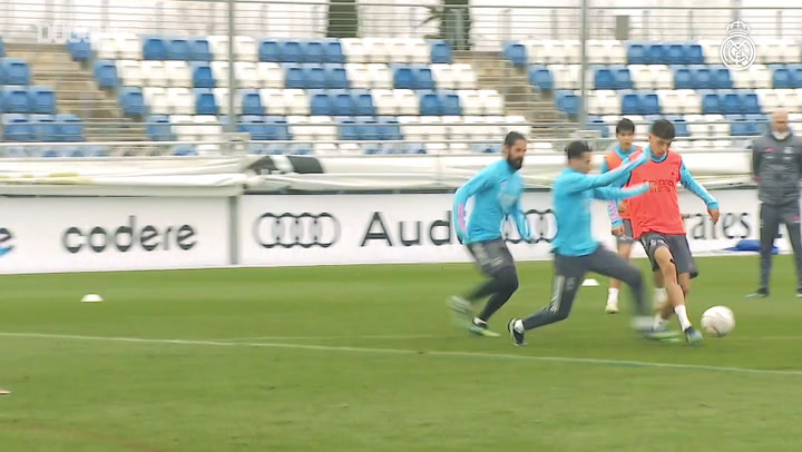 Real Madrid players take part in training match ahead of Valencia test