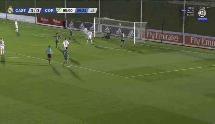 Este es el segundo gol de Reinier que cerró la victoria del Real Madrid Castilla ante el Coruxo