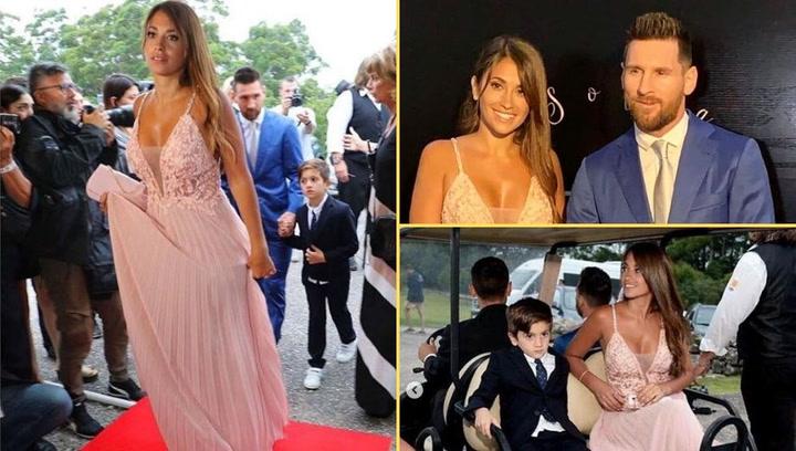 Antonela Roccuzzo, espectacular en la boda de Luis Suárez