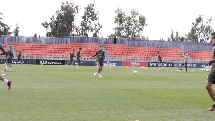 Entrenamiento del Atlético de Madrid previo al partido contra la Real Sociedad