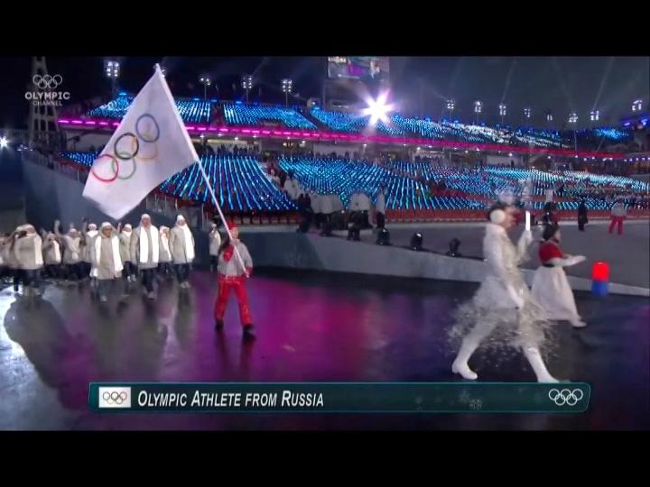 La delegación de Rusia ya desfiló en los Juegos Olímpicos de Invierno de 2018 con la bandera olímpica