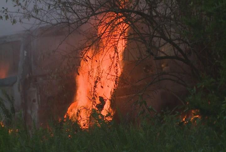 Three vehicles burn on Kipling Road