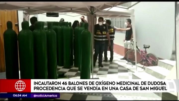 San Miguel: incautaron 46 balones de oxígeno medicinal de dudosa procedencia