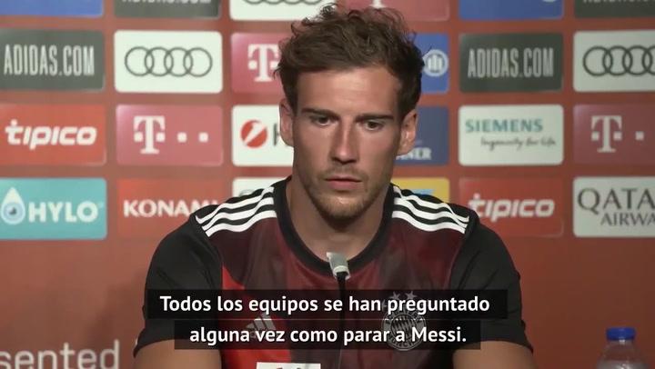 Leon Goretzka en rueda de prensa previo al partido contra el Barcelona en Champions League