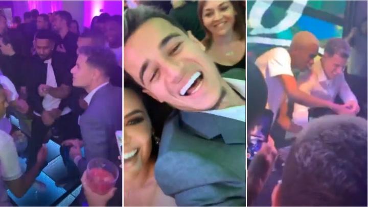 Coutinho se lo pasa en grande en su fiesta de Brasil