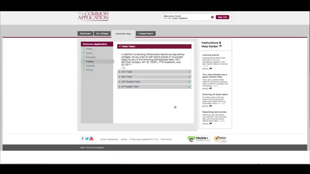 How to Complete the Common Application - Testing section