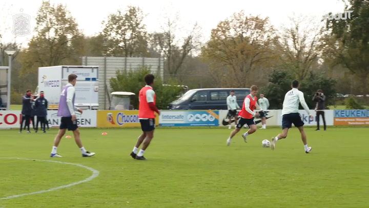 Dani Olmo scoring in Spain training