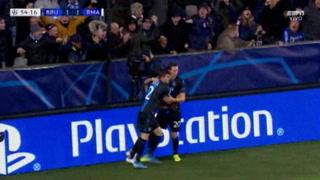 Hans Vanaken anota el empate 1 - 1 de Brujas ante el Real Madrid