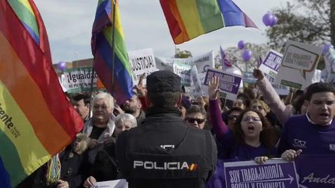Movilización feminista en España contra la ultraderecha