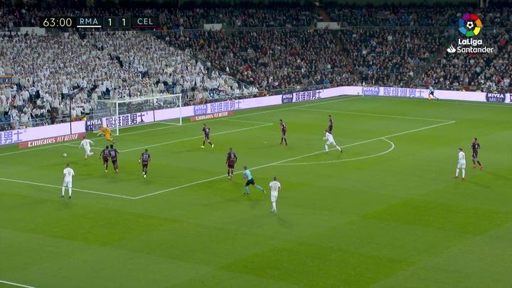 Gol de Sergio Ramos (p.) (2-1) en el Real Madrid 2-2 Celta