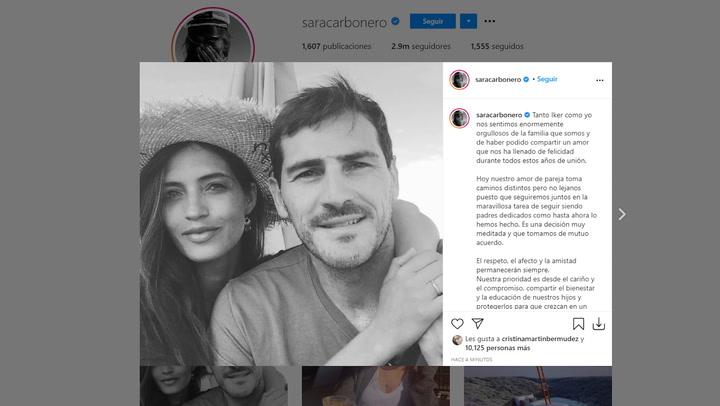 Iker y Sara confirman su separación con un comunicado