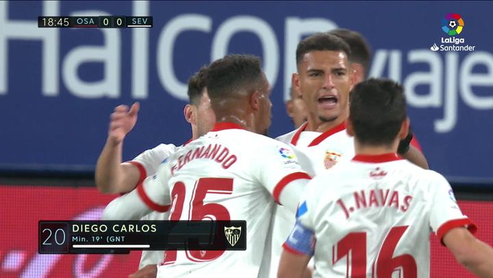 Gol de Diego Carlos (0-1) en el Osasuna 0-2 Sevilla