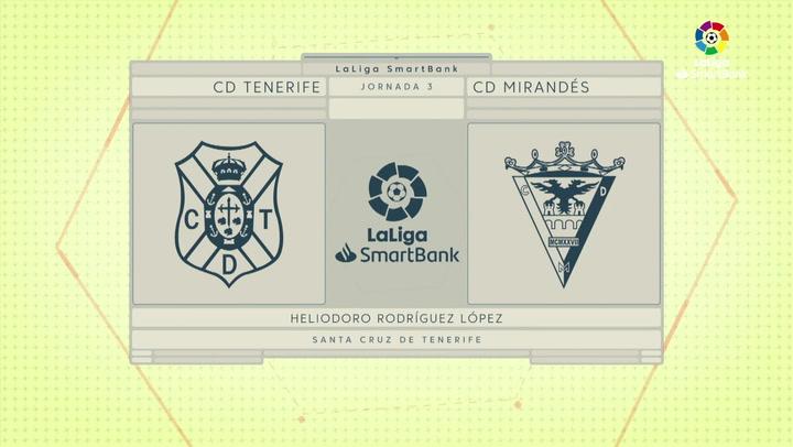 LaLiga SmartBank (J.3): Tenerife 1-2 Mirandés
