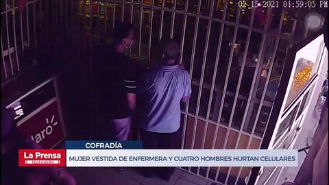 Mujer vestida de enfermera y cuatro hombres habrían hurtado unos celulares valorados en L. 70, 000 en Cofradía