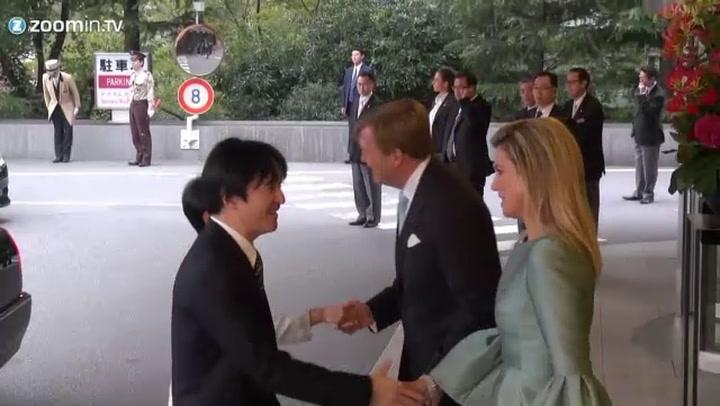 Koningspaar neemt afscheid van Japan