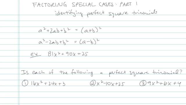 Factoring: Special Cases Part I - Problem 4