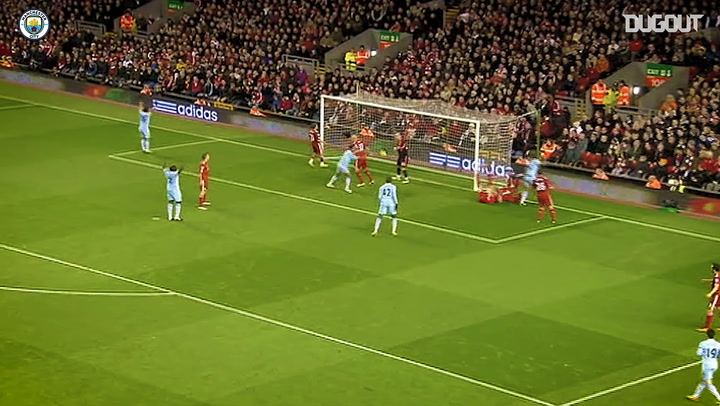 Vincent Kompany fires past Liverpool at Anfield