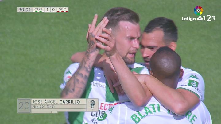 LaLiga 1|2|3: Córdoba - Real Sporting del 17/03/2019. Gol de José Ángel Carrillo