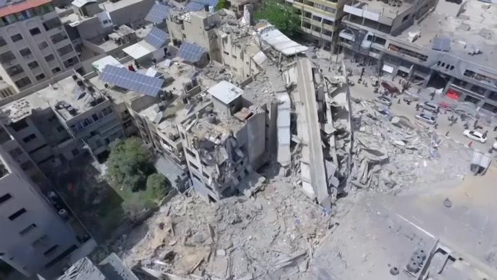 Drone captures scale of Gaza City destruction