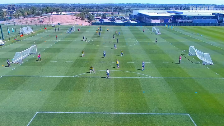 Drone footage of Everton back on the training ground