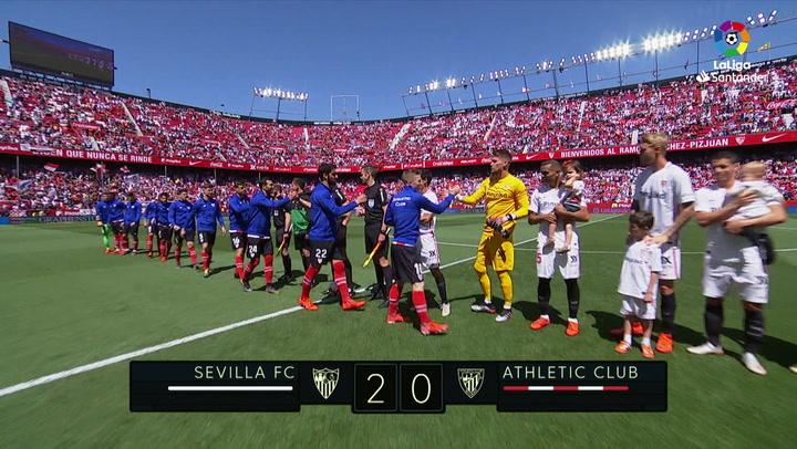 LaLiga: Resumen y Goles del Partido Sevilla (2) - (0) Athletic Club del 18/05/19 | Vídeo