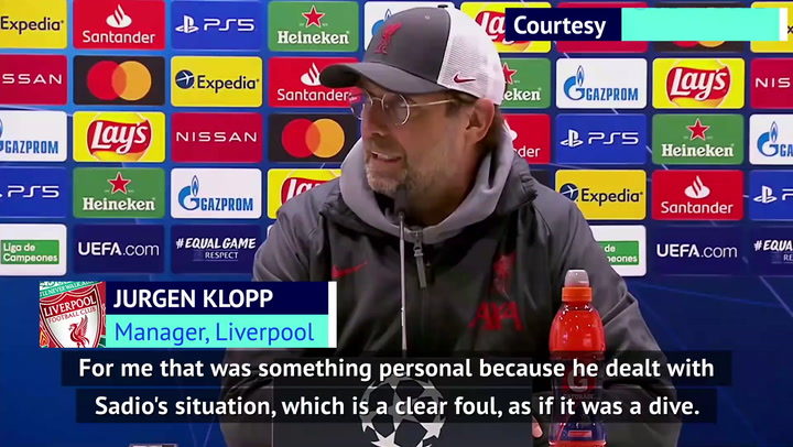 Klopp accuses referee of 'personal' issue with Mane