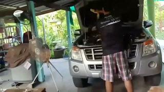 Serpiente pitón aparece dentro de motor de auto en Tailandia
