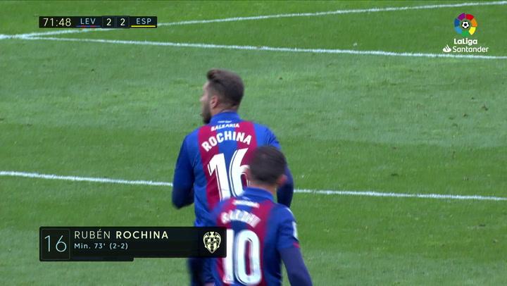 LaLiga: Levante-RCD Espanyol. Gol (2-2) de Rubén Rochina (min 73)