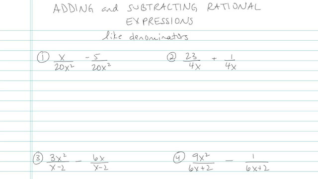 Adding and Subtracting Rational Expressions - Problem 4