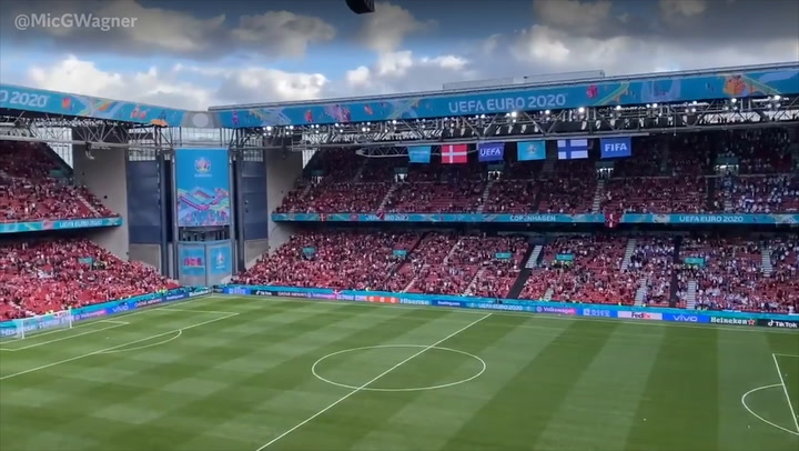 Fans chant 'Christian Eriksen' after player's collapse at Euro 2020