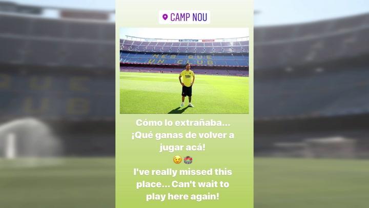 Messi se emociona al volver a pisar el Camp Nou