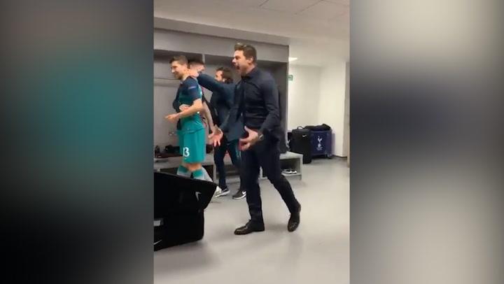 La euforia de Pochettino y los jugadores del Tottenham en el vestuario del estadio Etihad