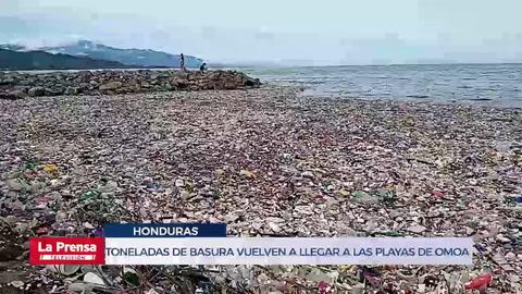 Toneladas de basura vuelven a llegar a las playas de Omoa